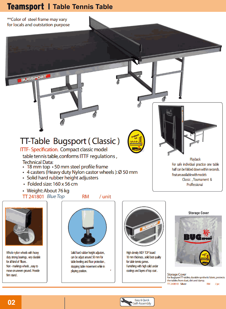 meja pingpong table tennis bugsport brochure